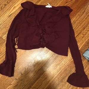 Maroon long-sleeve lace up crop top